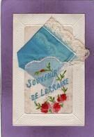 Carte Fantaisie Brodée Souvenir De Lorraine - Borduurwerk
