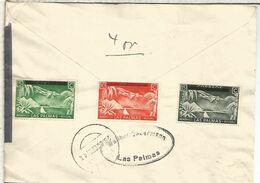 GUERRA CIVIL CANARIAS LAS PALMAS PUERTO DE LA LUZ 1938 CON VIÑETAS BENEFICAS CENSURA MILITAR - 1931-50 Covers