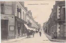 72 CHATEAU Du LOIR Avenue De Tours ,façade Hôtel Attelage Charette Avec Cheval - Chateau Du Loir