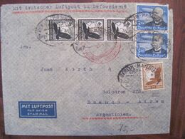 1939 Zeppelin Flugpost Air Mail Deutsches Reich DR Allemagne Argentina Cover Via Aerea Bande Triple - Aéreo