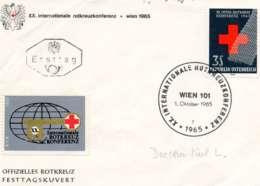 """AUTRICHE.1965.Lettre Officielle """"XX INTERNATIONALE ROTKREUZ KONFERENZ"""".THEME:CROIX-ROUGE. - Red Cross"""