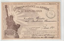 Carte Illustrée Militaire En Franchise Postale/Correspondance Des Armées De La République Avec Statue De La Liberté,1918 - Cartas