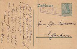 EP Michel P90 Avec Censure Rectangulaure De Straßburg Oblitérant Du 20.8.1914 Adressée à Sufflenheim - Elsass-Lothringen