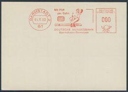 Deutschland Germany 1963 Adressband - Mit Pfiff Per Bahn DB - Bezirkskasse Darmstadt - Deutsche Bundesbahn - Trains