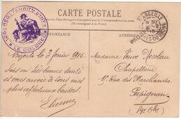 Carte BIZERTE TUNISIE Franchise Militaire 126e Régiment Infanterie 1915 Cachet Marseille + Griffe PAQUEBOT (maritime) - Posta Marittima