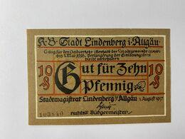 Allemagne Notgeld Lindenberg 10 Pfennig - Colecciones