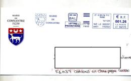 Lettre Flamme Ema Gibrien Mairie Connantre Entete Concordante Theme Chien - Postmark Collection (Covers)