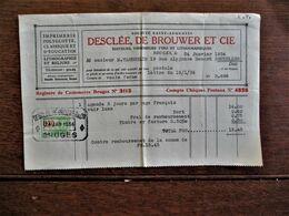 Oude Faktuur  Met Fiscale Zegel En Stempel  DESCLéE  DE  BROUWER  ET  CIE  1934 - Assegni & Assegni Di Viaggio