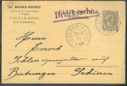 2 Centimes Olive Obl. Dc COLMAR BERG Sur Carte Imprimé (E. Wagner à Colmar-Berg) Du 25-3-1907 Vers Birtrange - 15978 - 1895 Adolphe De Profil