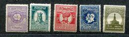 Roumanie *, N° 319 à 323 - Cinq. De La Société De Géographie - 1918-1948 Ferdinand, Charles II & Michael