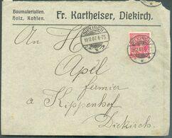 10 Centimes Rouge Obl. Dc DIEKIRCH Sur Lettre (Fr. Kartheiser Baumaterialien) Du 19-12-1907 Vers Diekirch - 15985 - 1895 Adolphe Profil