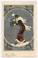 Illustrateur Xavier Sager.jolie Jeune Fille En Manteau De Fourrure,paysage De Neige,oiseaux, - Sager, Xavier