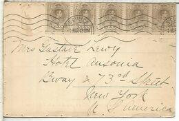 SEVILLA POSTAL A NEW YORK 1913 FRANQUEO IMPRESOS CON 5 SELLOS MEDALLON ALFONSO XIII - Lettres & Documents