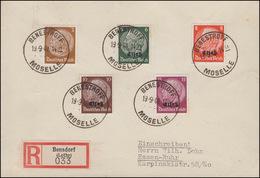 Elsaß 4ff Hindenburg Mit/ohne Aufrduck MiF Auf R-Bf. BENSESTROFF/MOSELLE 19.9.40 - Besetzungen 1938-45