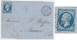 N°14B Variété Suarnet 28 Bien Visible, Position 128B1, Sur Lettre, TB - 1853-1860 Napoleon III