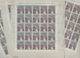 ANDORRA C. ESPAÑOL 4 HOJAS EN PERFECTO ESTADO  100 SELLOS DEL AÑO 1963-64 (C. E.H.) - Andorra Española