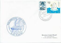 """Lettre """"Polarstern"""" Avec Timbres Allemagne N°1179 Aéroport De Francfort Et 1887 Ours Blanc - 29/07/2001 - Polare Shiffe & Eisbrecher"""