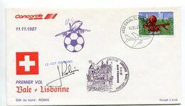 1er Vol CONCORDE BALE - LISBONNE - MALTE - BALE 11, 13, 15 Novembre 1987. 3 Enveloppes - Airplanes