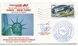 CONCORDE Vol Spécial 60e Anniversaire De La Traversée De Charles LINDBERGH 21 MAI 1987 - Airplanes