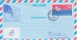 Frankreich/Guadeloupe - 4,20 Fr. Philex Aerogramme LH-Erstflug Saint Martin 1989 - Francia