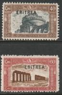 "Eritrea 1927 Sc B17-18 Sa 116a,117a Dotted ""i"" In Overprint (rotta) Variant MH Tropical Gum - Eritrea"