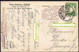 AD - Bayern 1908 MiNr. 61 Y  Auf AK Von Bayreuth, Villa Wahnfried, Fotokarte (bildseitiger Beschädigung+ Knick O. Re.) - Bayern (Baviera)