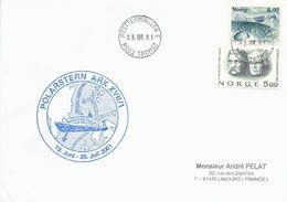 """Lettre """"Polarstern"""" Avec Timbres Norvège N°1260 Morue Et 805 Prix Nobel  - Cachet Tromso Du 03/08/2001 - Polare Shiffe & Eisbrecher"""