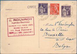 France 1939 Carte Paix 55c Suppl. 55c Paix & 5c Mercure De Courville à Bruxelles 2009.0451 - Standard Postcards & Stamped On Demand (before 1995)