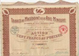 TABACS DE MACEDOINE ET D'ASIE MINEURE - LOT DE 3 ACTIONS DE 100 FRS - ANNEE 1925 - Asien