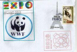 UNIVERSAL EXPO MILANO 2015,lettre WWF,avec Timbre France WWF Mouflon Méditerranée,Pavillon FRANCE à L'Expo Universelle - 2015 – Milano (Italia)
