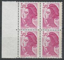 2486a 3.70F Rose Liberté - 1 Bde à Droite - Bloc De 4 Bord De Feuille - 1982-90 Liberty Of Gandon