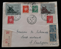 Enveloppe Lettre Ilot De St Nazaire Vignettes Front Atlantique 50c 2fr 1945 Recommandé Batz Sur Mer R 158 Pétain - Postmark Collection (Covers)