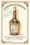 SAINT LO (50) Carte Publicitaire Tarifs Calvados BIGOT Propriétaire Bouilleur - Saint Lo