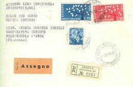 MICHELANGIOLESCA £.70+70 EUROPA 62.,VALORI GEMELLI,ORDIN/COMM,1962-RACC/ASSEGNO-TIMBRO POSTE GENOVA,DOPPIA ETICHETTA, - 6. 1946-.. Repubblica
