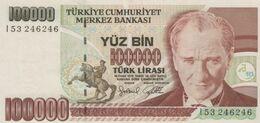 (B0037) TURKEY, L.1970 (1991 ND). 100000 Lira. P-205. XF - Türkei