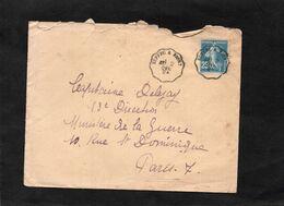 LSC 1924 - Convoyeur - Cachet  RUFFEC  à  NIORT Sur Semeuse YT 140 - Bahnpost
