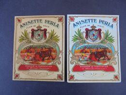 ETIQUETTE - ANISETTE PERLA - FLOR DE ANIS - SSEVILLE, ANDALOUSIE - LOT DE 2 DIFFERENTES - Labels