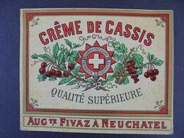 ETIQUETTE - FABRIQUE D'ABSINTHE? VERMOUTH, LIQUEUR, CREME DE CASSIS - AUGUSTE FIVAZ, SUISSE, NEUCHATEL - Labels