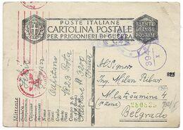 Italy 1943 POW Censored Postcard To Serbia - Otros