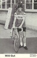 CARTE CYCLISME WILLI GUT TEAM ITCA 1973 ( DECOUPE, FORMAT 9,5 X 14,8 ) - Radsport