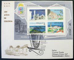 1980 URUGUAY Circulated FDC Postmark - 300 Years Colonia World Heritage Lighthouse Phare Bridge Pont - Yv S/s H35 - Uruguay