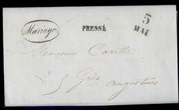 Marque Postale Lettre 1850 Pressé Campas & Cie Marriage Henri Fabre Capitaine D' Artillerie  AVR20-175ter - 1849-1876: Klassieke Periode