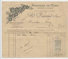 Vernon, 1916, Brasserie De Gidre, Pommes, Poires, AD. Durand, Grains, Graines Fourragères, ,Lamy, Timbre Fiscal - Facturen