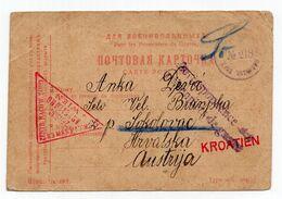 1916. WWI  RUSSIA,POW CAMP TO CROATIA,AUSTRIA,MILITARY CENSOR MOSCOW  & VIENNA,RED CROSS  MILITARY STATIONERY CARD - 1917-1923 Republic & Soviet Republic