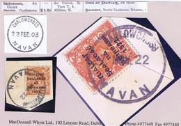 Ireland Meath 1922 Rubber Climax Dater GARLOWCROSS NAVAN 27 NOV.22 On Piece With Thom Rialtas 2d - Ohne Zuordnung