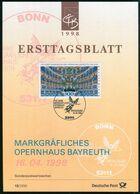 BRD - 1998 ETB 13/1998 - Mi 1983 - 300Pf                       Opernhaus Bayreuth - FDC: Hojas
