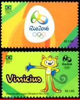 Ref. BR-3318A+AD BRAZIL 2015 SPORTS, OLYMPIC GAMES, RIO 2016,, EMBLEM+MASCOT,STAMPS OF 4TH SHEET,MNH 2V Sc# 3318A+AD - Summer 2016: Rio De Janeiro