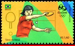 Ref. BR-3318P BRAZIL 2015 SPORTS, OLYMPIC GAMES, RIO 2016,, TABLE TENNIS, PING PONG, 4TH SHEET, MNH 1V Sc# 3318P - Summer 2016: Rio De Janeiro
