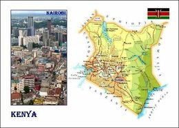 Kenya Country Map New Postcard - Landkaarten