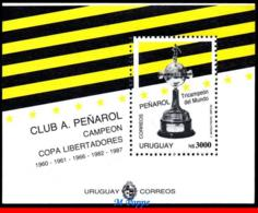 Ref. UR-1415B URUGUAY 1992 FOOTBALL SOCCER, PENAROL, WINNERS OF, LIBERATOR�S CUP, SS MNH 1V Sc# 1514B - Uruguay